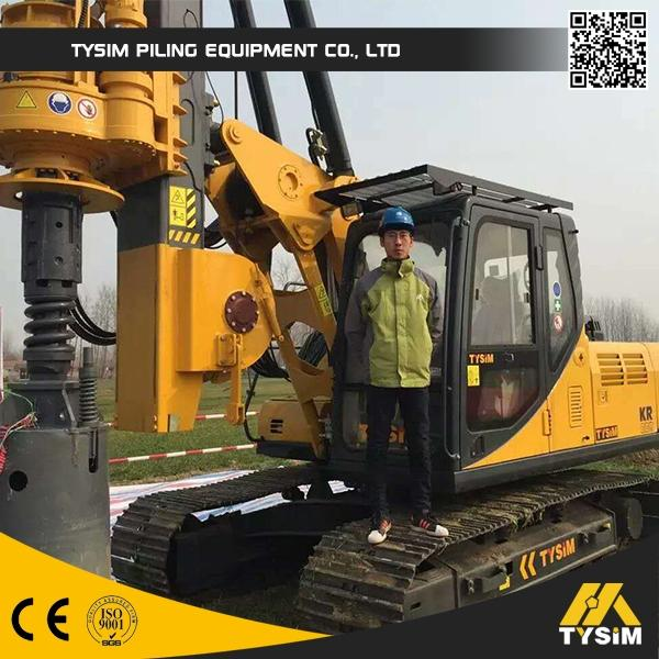 Max Crowd Pressure 90 KN KR80A Hydraulic Rotary Piling Rig With 28m Max Drilling Depth Borehole Pile Equipment
